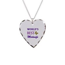 Worlds Best Midwife (Butterfly) Necklace Heart Cha