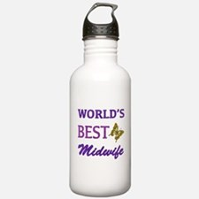 Worlds Best Midwife (Butterfly) Water Bottle