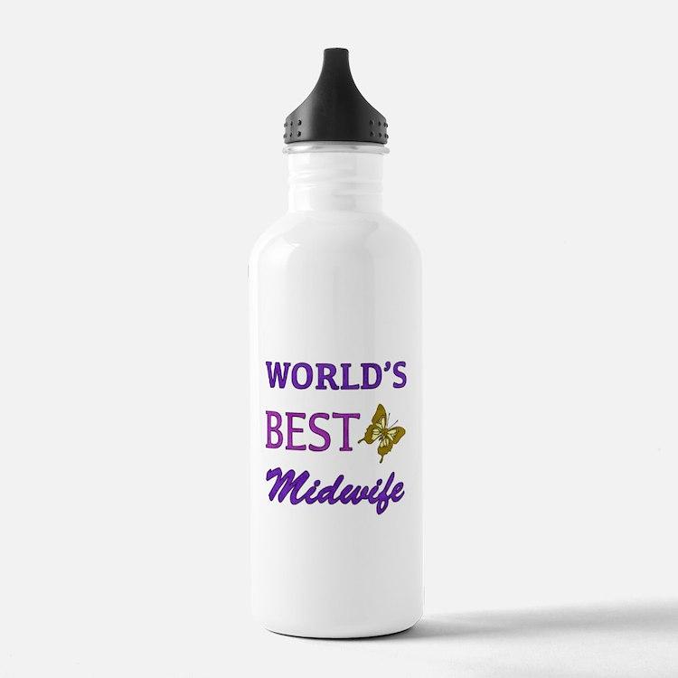 Worlds Best Midwife (Butterfly) Water Bottle