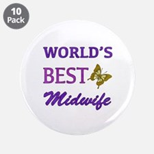 "Worlds Best Midwife (Butterfly) 3.5"" Button (10 pa"