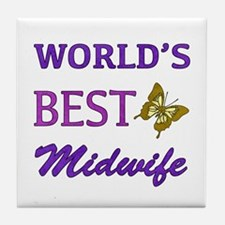 Worlds Best Midwife (Butterfly) Tile Coaster