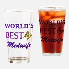 Worlds Best Midwife (Butterfly) Drinking Glass