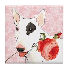 Bull Terrier Rose Tile Coaster