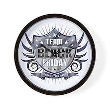 Team black Friday Shield_dark Wall Clock