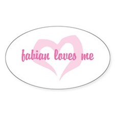 """""""fabian loves me"""" Oval Decal"""