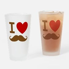 I Love Mustache Drinking Glass