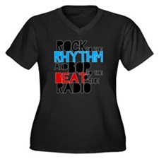 bop Women's Plus Size Dark V-Neck T-Shirt