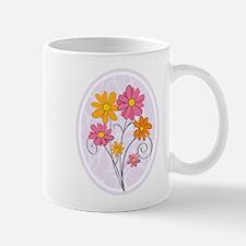 Chic pink and orange floral Mugs