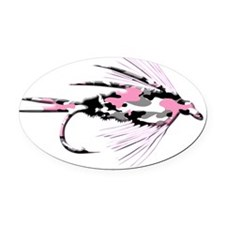 PINK CAMO FLY 4 BLACK Oval Car Magnet