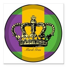 "MardiGrasFlagLRtr Square Car Magnet 3"" x 3"""