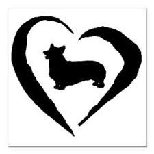 "Pembroke Heart Square Car Magnet 3"" x 3"""