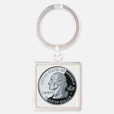 quarter-heads-george-02 Square Keychain