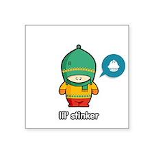 "Stinker GRN-RED Square Sticker 3"" x 3"""