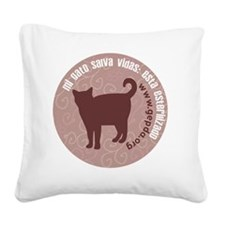3-pgato redondo Square Canvas Pillow