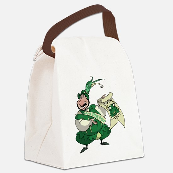 BullFrogFrontBlack Canvas Lunch Bag