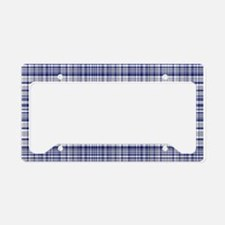 Blue and Silver Plaid License Plate Holder