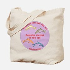 FourDolphins-round Tote Bag