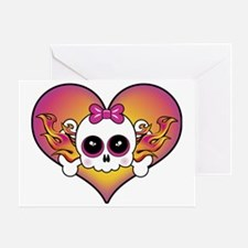 Cute Skull Heart Greeting Card