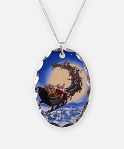 Merry Christmas to All_POSTER Necklace Oval Charm