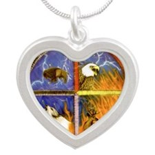 Medicine Wheel Silver Heart Necklace