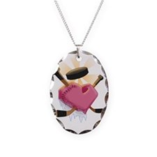 hockey heart shirt  Necklace Oval Charm