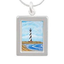 Cape Hatteras Lighthouse Silver Portrait Necklace