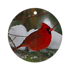 another Christmas Cardinal Round Ornament
