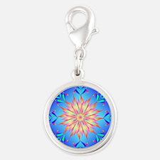 Sun flower-4. Silver Round Charm
