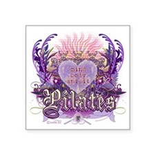 "pilates chantilly heart cop Square Sticker 3"" x 3"""