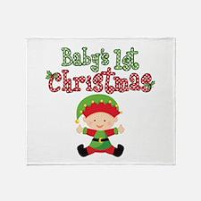 1st Christmas Baby Elf Throw Blanket