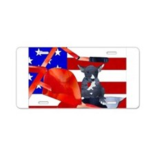 Patriotic Puppy Aluminum License Plate