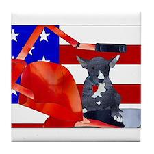 Patriotic Puppy Tile Coaster