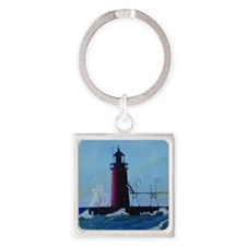 South Haven Lighthouse Square Keychain