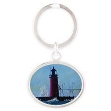 South Haven Lighthouse Oval Keychain