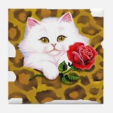 Phreak leopard kitten Tile Coaster