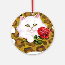 Phreak leopard kitten Round Ornament