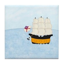 Naval Ship at Sea Tile Coaster