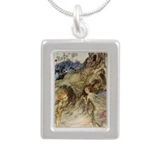 Puck and a Fairy Silver Portrait Necklace