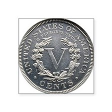 "1913_liberty_nickel_rev Square Sticker 3"" x 3"""