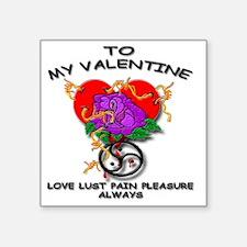 """BDSM tattoo u valentine car Square Sticker 3"""" x 3"""""""