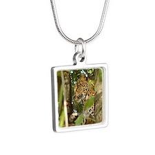 LeopardCheetaro012 Silver Square Necklace