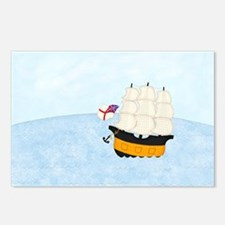 2-Naval Ship at Sea 5x4 Postcards (Package of 8)
