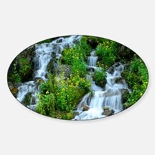Mountain spring waterfall Sticker (Oval)