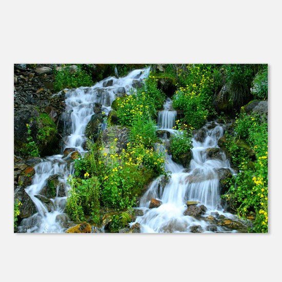 Mountain spring waterfall Postcards (Package of 8)