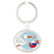 stork baby slov white Oval Keychain