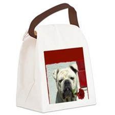 I Love you bulldog card Canvas Lunch Bag
