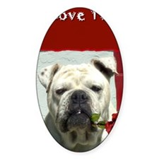 I Love you bulldog card Decal