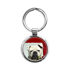 I Love you bulldog card Round Keychain