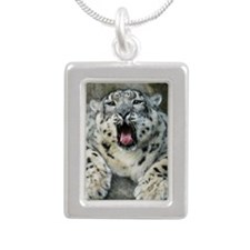 SnowLeopardBCR007 Silver Portrait Necklace