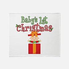 1st Christmas Baby Present Throw Blanket